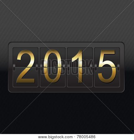 New Year Black Counter Card, Vector Illustration