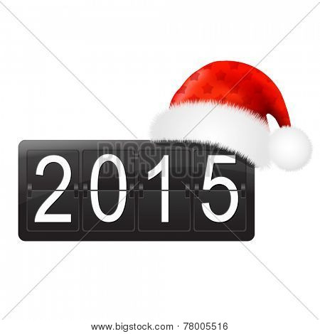 New Year Counter With Santa Hat With Gradient Mesh, Vector Illustration
