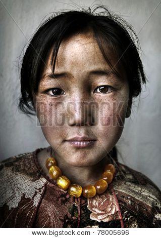 Portrait of a Mongolian Girl. Western Mongolia, Mongolia.