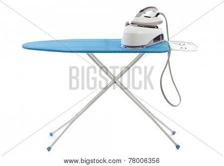 Steam iron on ironing board isolated on white background.
