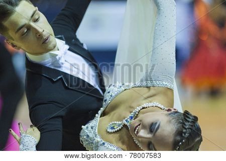 Minsk-belarus, October 5, 2014: Professional Dance Couple Of Il'ya Rykun And Valeriya Lobach Perform