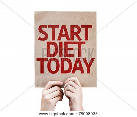 Start Diet Today card isolated on white background