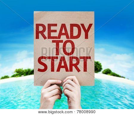 Ready to Start card with a beach on background