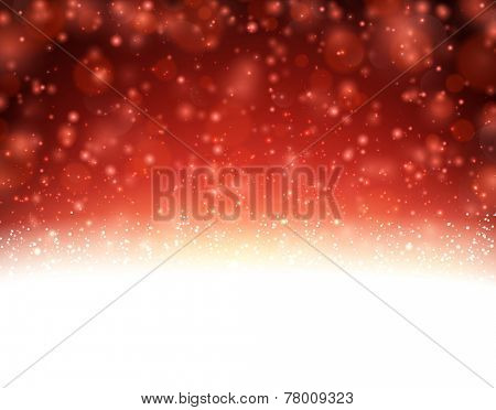 Winter background with snowfall. Christmas red defocused illustration. Eps10 vector.