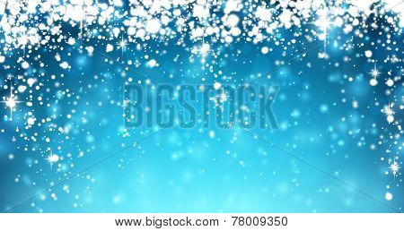 Winter background with snowfall. Christmas blue defocused illustration. Eps10 vector.