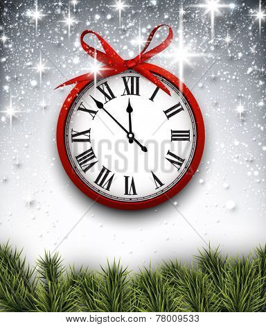 Vintage clock over starry christmas background. New year vector illustration.