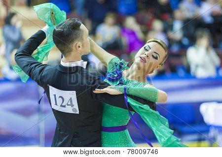 Minsk-belarus, October 5, 2014: Professional Dance Couple Of Alexey Tkachuk And Nadezhda Volui Perfo