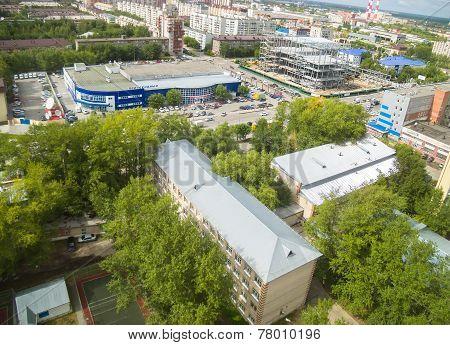 Bird eye view on Energetikov street. Tyumen