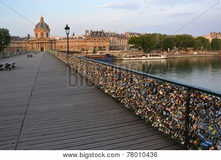 Hundreds Of Thousands Of Love Locks On The Pont Des Arts Bridge, Paris France.