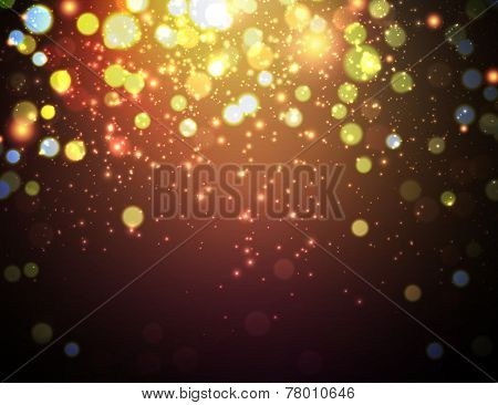 Abstract background with blurred lights. Vector christmas illustration.