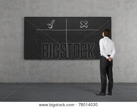 Businessman Looking At Poster