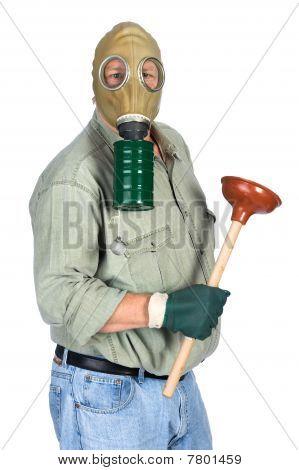 Plumber Wearing Gas Mask