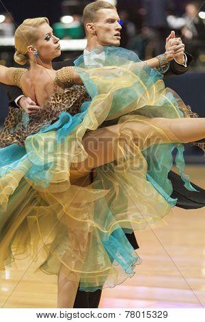 Minsk-belarus, October 5, 2014: Professional Dance Couple Of Dulebenec Egor And Samorodskaya Alexand