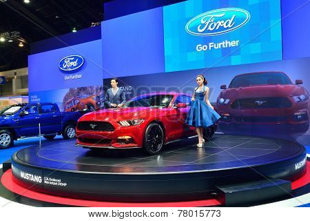 Nonthaburi - December 1: Model Poses With Ford Mustang 2.3L Ecoboost Car Display At Thailand Interna