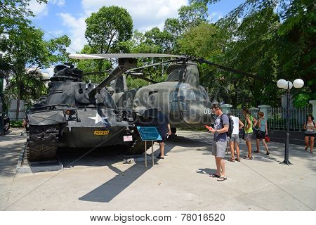 U.S. tank and helicopter, at War Remnants Museum, Ho Chi Minh City, Vietnam