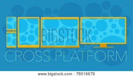 Vector concept of cross platform with mobile phone, tablet pc, laptop and pc