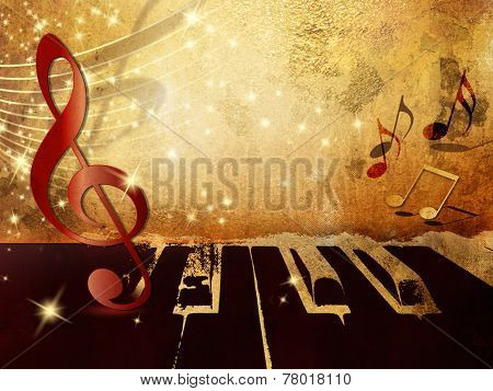 Music background with piano keys, music notes and treble clef