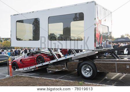 Bugatti Veyron Entering Enclosed Auto Transport