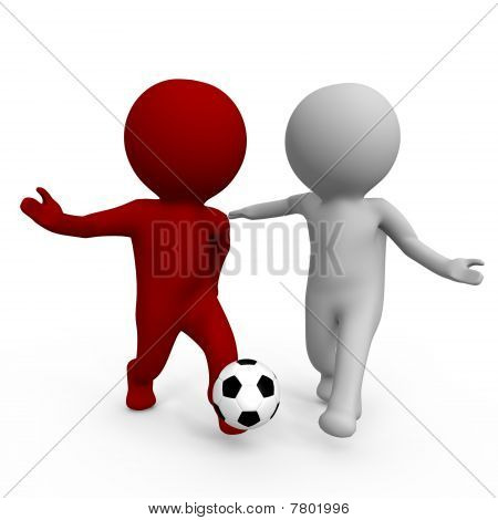 Two people playing soccer - a 3d image