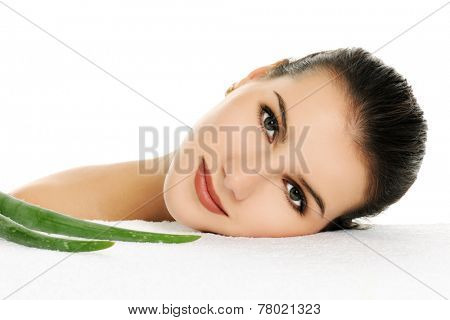 woman with aloe vera
