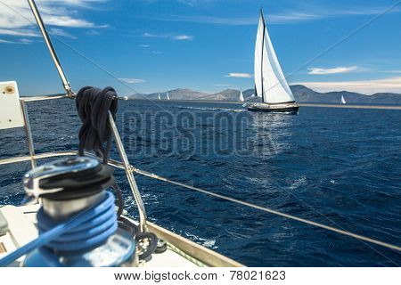 Boats in sailing regatta. Luxury yachts.