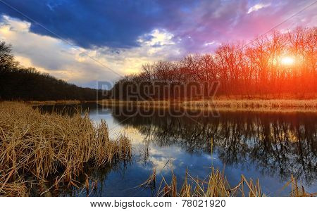 Autumn scene on lake in forest at evening time