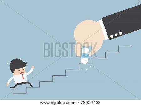 Business Rival Concept, Businessman Hand Holding Eraser Deleting The Stair