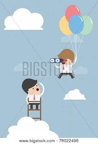 Business Man Flying With Balloon And Using Binoculars