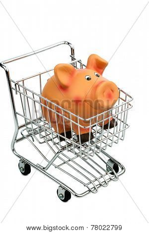 a piggy bank in a shopping cart, photo icon for consumer prices and buying behavior