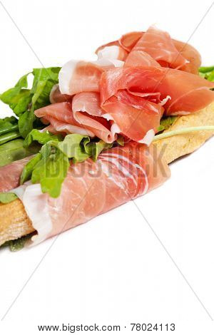 Parma ham prosciutto with grissini bread sticks