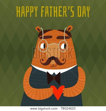Happy Father's Day Card In Vector With Cute Hipster Bear.stylish Holiday Background