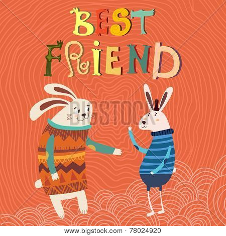 Happy Friendship Day.concept Friendly Design- Best Friend  Card With Cute Rabbits. Vector Illustrati