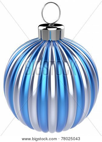 Christmas Ball New Years Eve Bauble Decoration Blue Silver