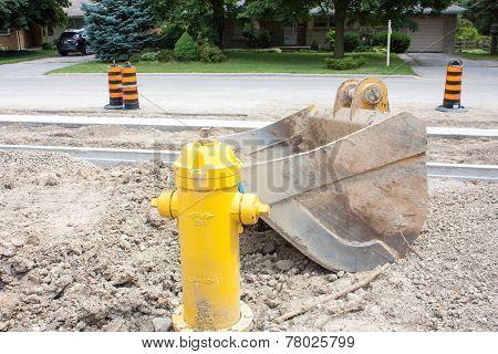 Excavator Scoop On Construction Site