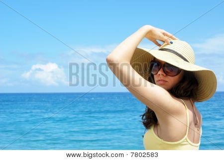 Beautiful woman at the seaside