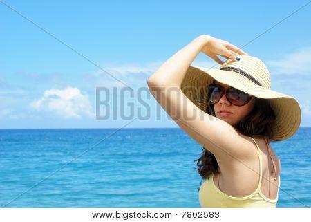 Beautiful woman at the seaside
