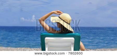 Woman lounge at the beach