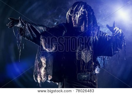 Ancient shaman warrior. Ethnic costume. Paganism, ritual.