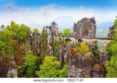 Stones and Bastei bridge in Sachsische Schweiz