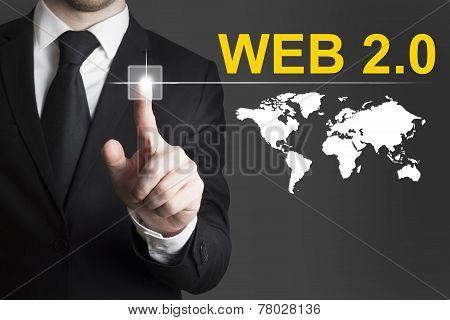 Businessman Pushing Button Web Internet
