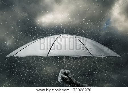 Umbrella In Hand Under Raindrops