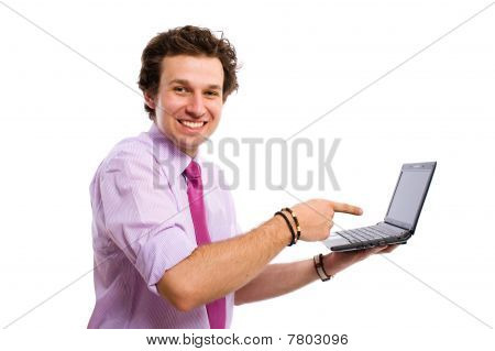 Young Male Point To The Right Website, Computer, Netbook, Isolated