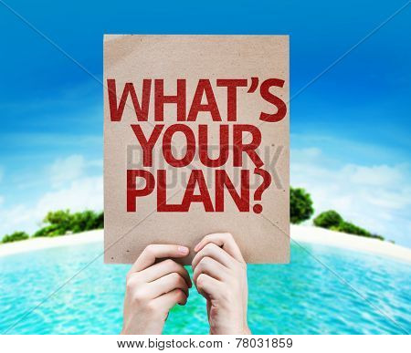 Whats Your Plan? card with a beach on background