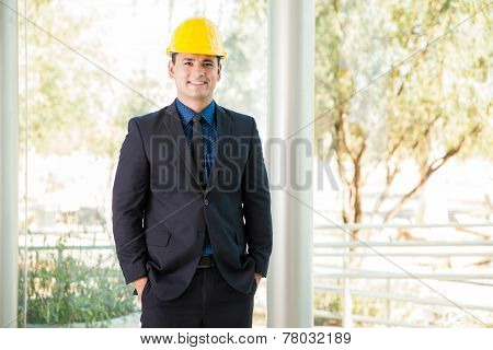 Happy Investor Wearing A Helmet
