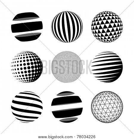 Set of black abstract sphere. Vector logo template