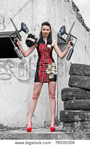Girl with weapons