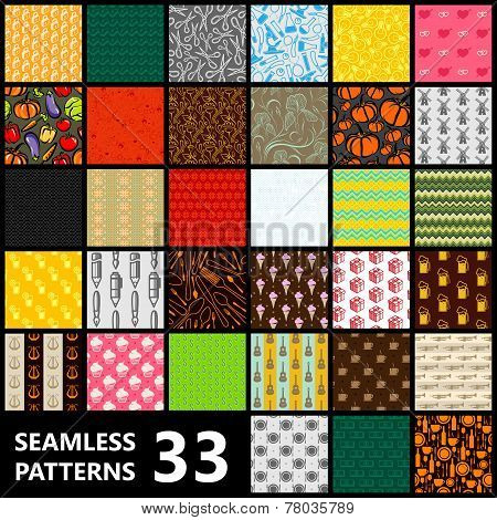 big set of 33 seamless vector patterns. Food and drinks, science, music, abstract, ethnic, other bac