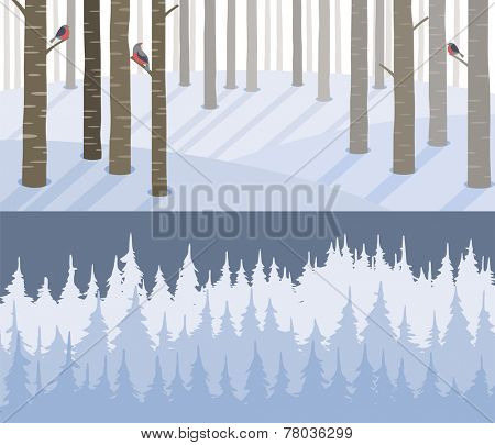 two winter landscape banners