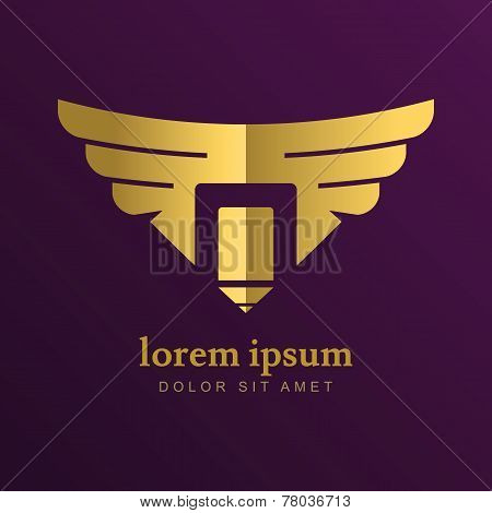 Vector Logo Design Template. Golden Pencil With Wings. Concept For Art, Writer, Copywriter, Design