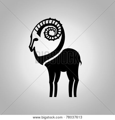 Stylized black silhouette of goat's figure. Ibex sign on white background. Vector illustration.